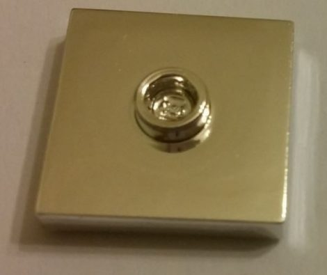 Chrome Silver Plate, Modified 2 x 2 with Groove and 1 Stud in Center (Jumper)  87580 Custom chromed by BUBUL