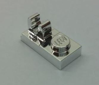 Chrome Silver Plate, Modified 1 x 2 with Clip on Top  92280 Custom Chromed by BUBUL