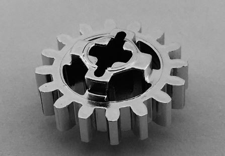 Chrome Silver Technic, Gear 16 Tooth (New Style Reinforced)   Part: 94925 Custom chromed by Bubul
