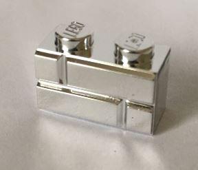 Chrome Silver Brick, Modified 1 x 2 with Masonry Profile (Brick Profile)  98283 Custom chromed by Bubul