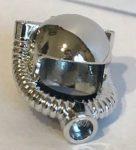 X168 Chrome Silver Minifigure, Headgear Helmet Space / Town with Breathing Hose or 30038 Custom Chromed by BUBUL