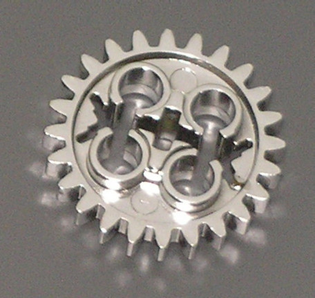 Chrome Silver Technic, Gear 24 Tooth (Old Style with Three Axle Holes) Part:x187  chromed by Bubul